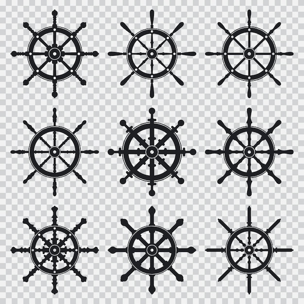 Ship and boat wheel  black silhouette icons set isolated on a transparent background. Premium Vector