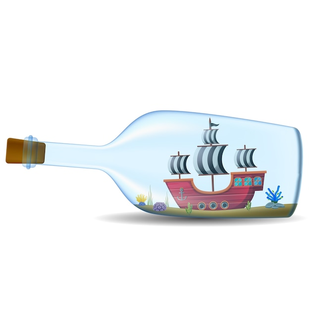 Ship in the bottle on white background Premium Vector