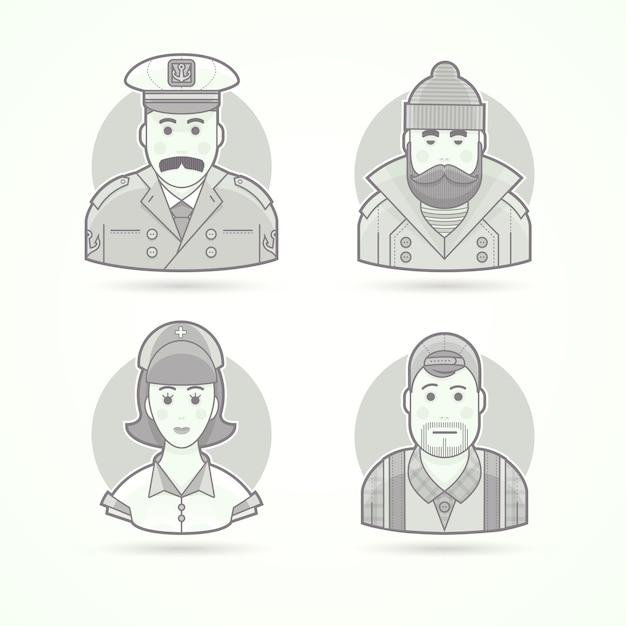 船長、漁師、看護師、ビデオオペレーターのアイコン。キャラクター、アバター、人物のイラスト。黒と白のアウトラインスタイル。 Premiumベクター