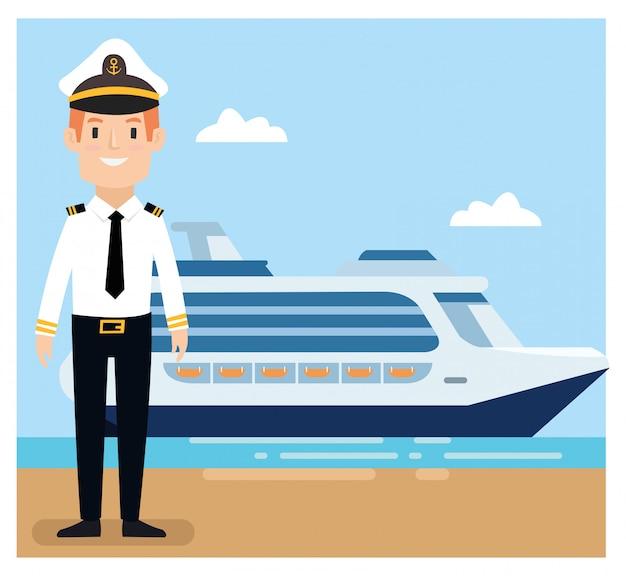 Ship captain wear uniform standing at the port Premium Vector