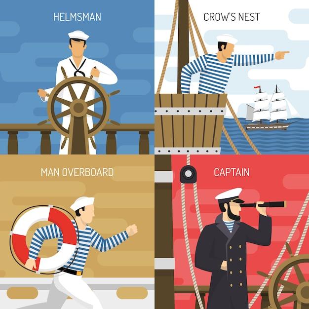 Ship crew 4 icons concept Free Vector