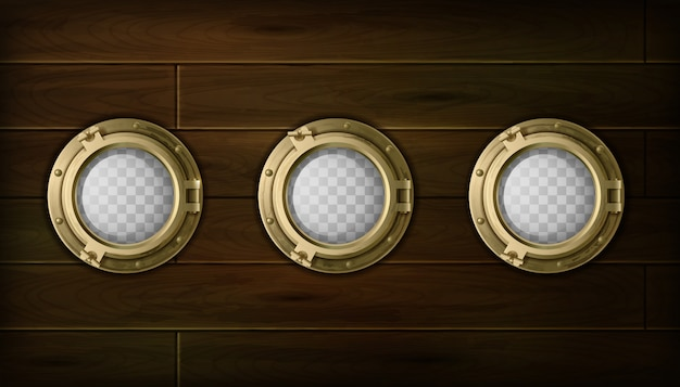 Ship golden  portholes cartoon set with wooden sides vector illustration Free Vector