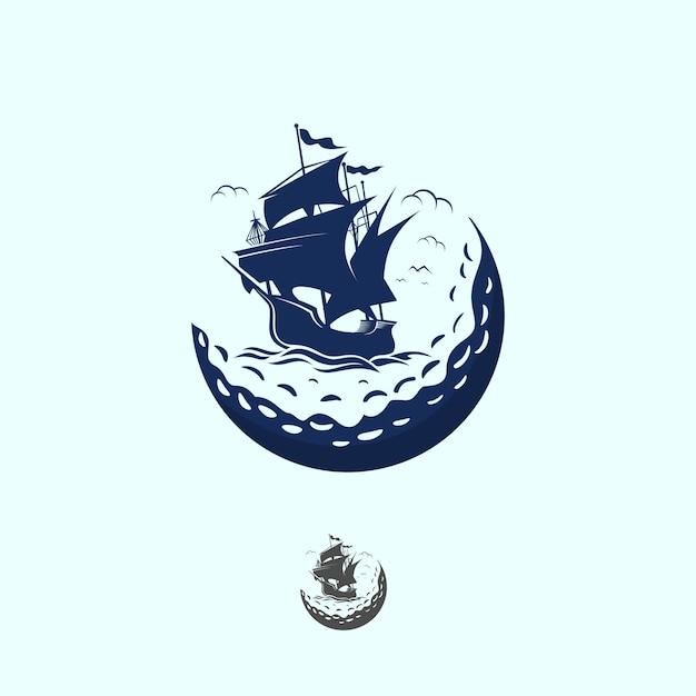 Ship golf vintage logo Premium Vector