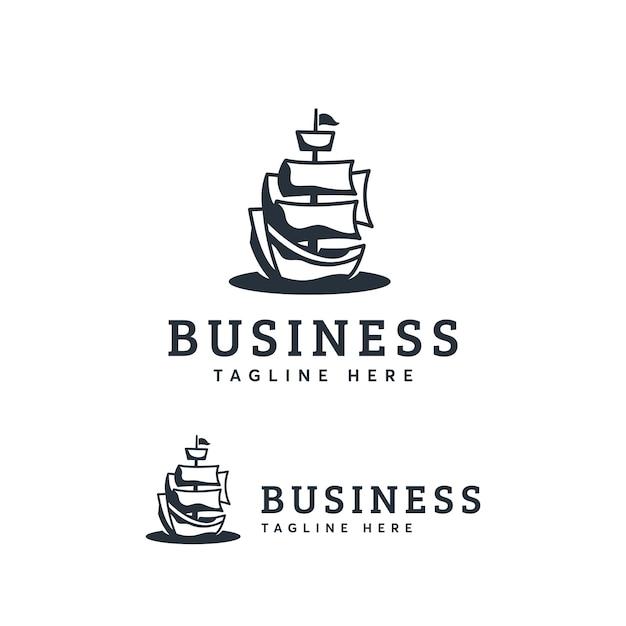 Ship logo template Premium Vector