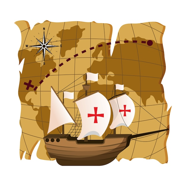 Ship navigation transport to america destination Premium Vector
