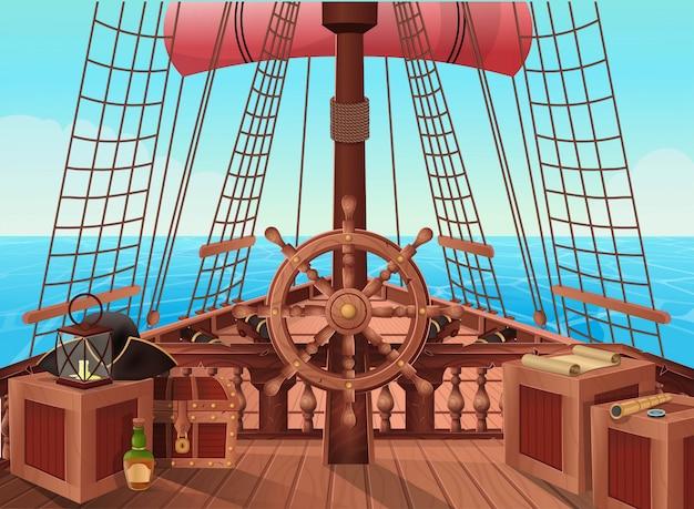 Ship of pirates. Premium Vector