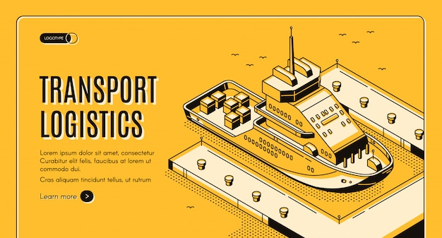 Ship port delivery company banner Free Vector