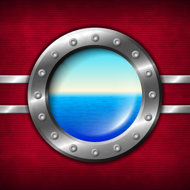 Корабельный иллюминатор с видом на море Premium векторы