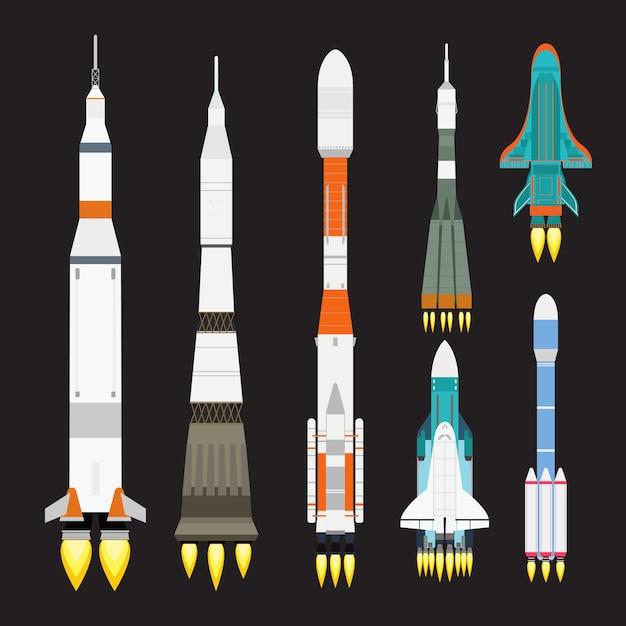 Ship rocket cartoon set, space launch graphic exploration. Premium Vector