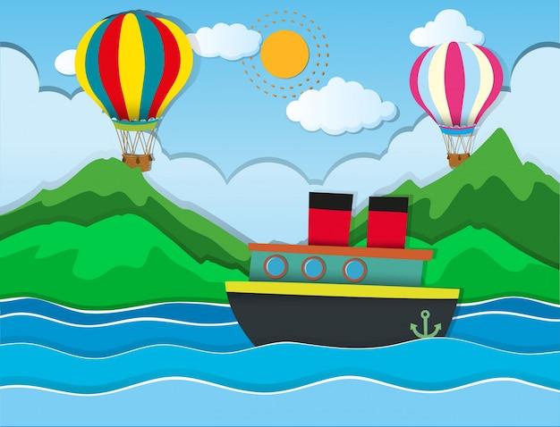 Парусное плавание в море и воздушные шары, летящие в небе Premium векторы