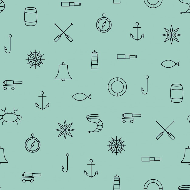 Ship & sea line icons seamless pattern Premium Vector
