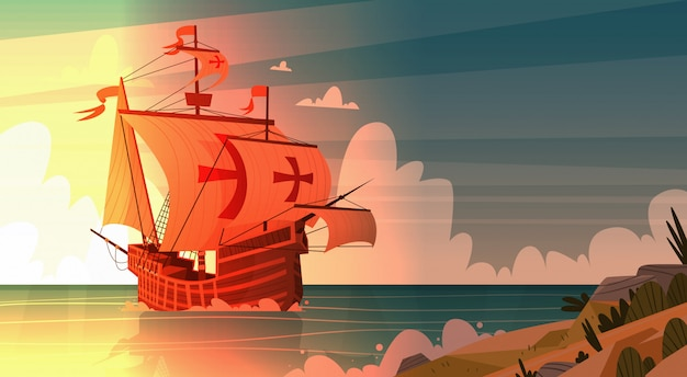 Ship in sea on sunset happy columbus day national usa holiday concept Premium Vector