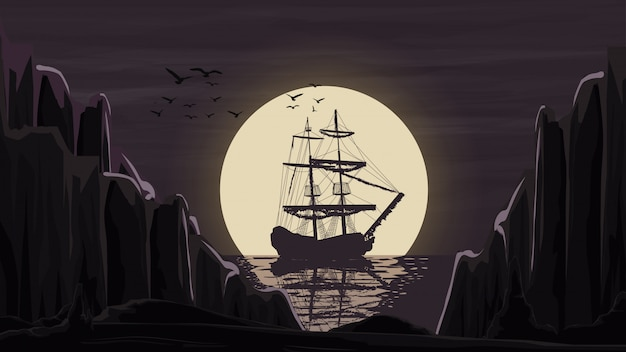 The ship stands in the port against the moon going beyond the horizon. Premium Vector
