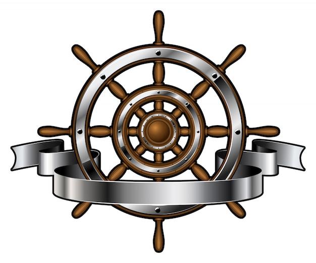 Ship steering wheel with banner Premium Vector