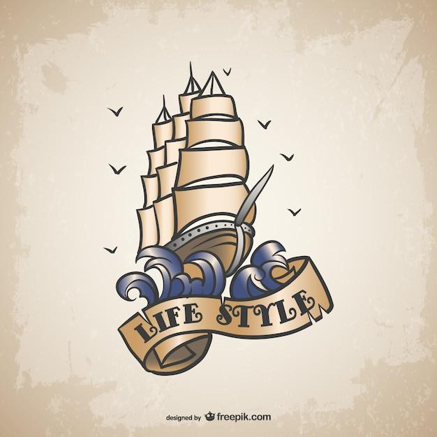 Ship tattoo design Free Vector