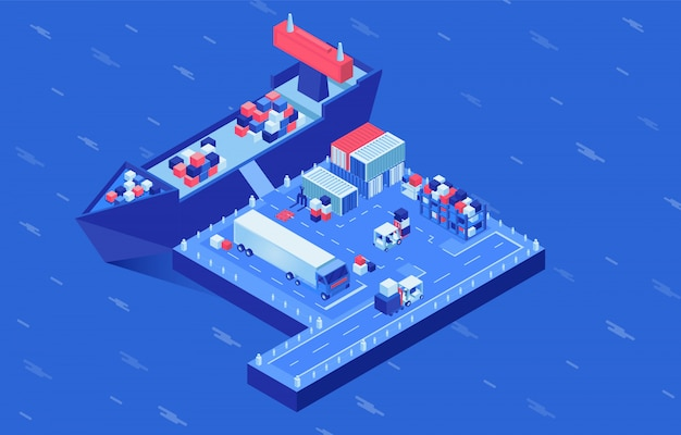 Shipment delivery isometric vector illustration. industrial vessel loading in seaport, freight ships logistics hub. cargo shipping service, import and export business, maritime conveyance Premium Vector