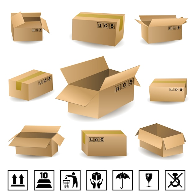 Shipping boxes set Free Vector