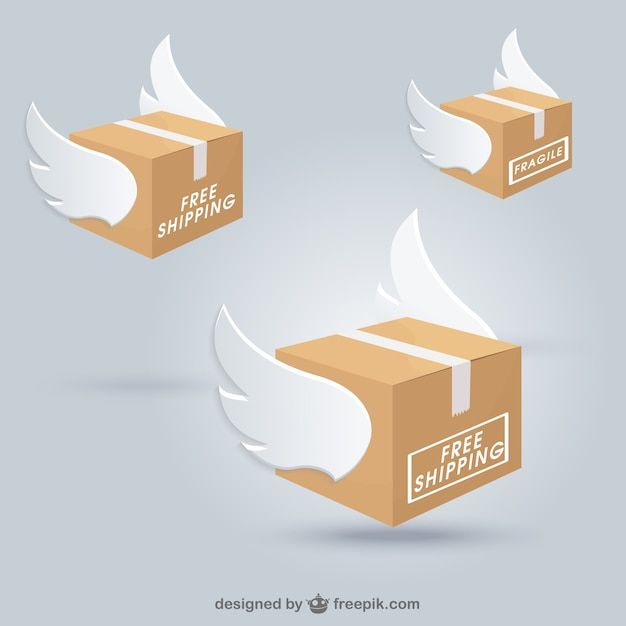Shipping boxes with wings Vector   Free Download