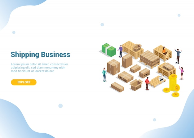 Shipping business concept for website template Premium Vector