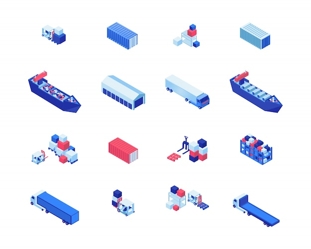 Shipping business isometric vector illustrations set. freight ships, warehouse storage, forklifts carrying cargo and lorry trucks. maritime shipment delivery, transportation industry design elements Premium Vector