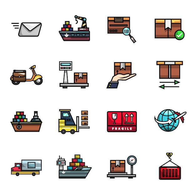 Shipping logistics parcel delivery elements full color  icon set Premium Vector