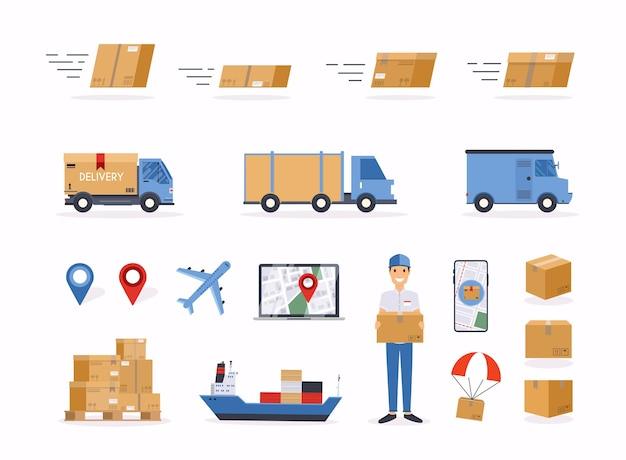 Иллюстрация объектов, связанных с доставкой Premium векторы