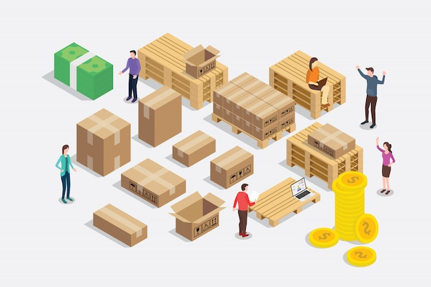 Shipping shipment business concept isometric 3d style Premium Vector