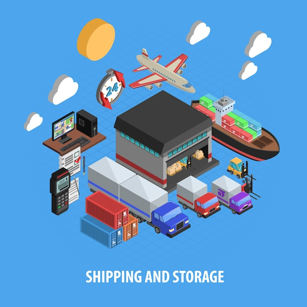 Shipping and storage isometric concept Free Vector