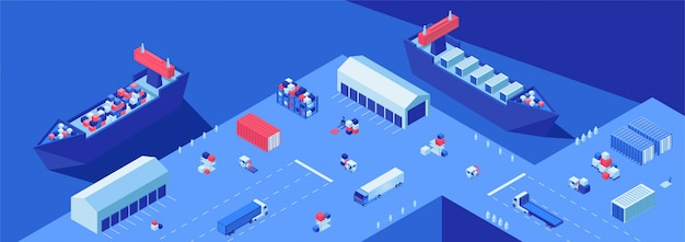 Shipping yard isometric flat vector illustration. shipment transportation, import and export business, maritime delivery service. Premium Vector