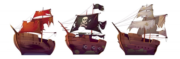 Ships after shipwreck, old broken sail boats Free Vector