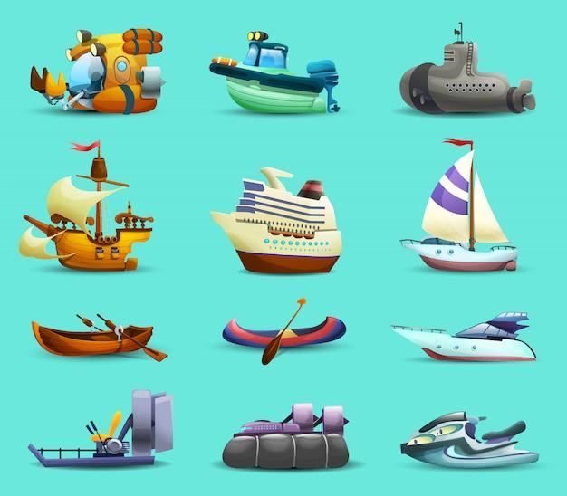 Набор иконок кораблей и лодок Бесплатные векторы