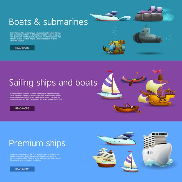 Ships and boats banners set Free Vector
