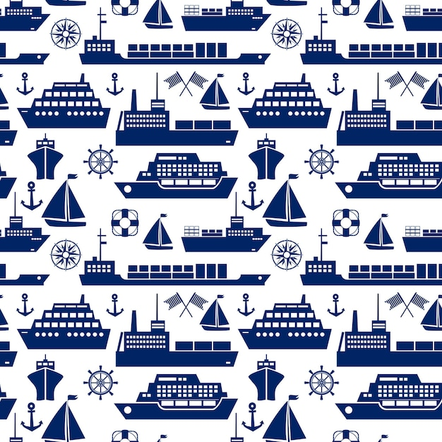 Ships and boats marine seamless background pattern with silhouette vector icons of a cruise liner  yacht  sailboat  container ship  tanker  freighter  anchor  semaphore flags  ships wheel  square Free Vector