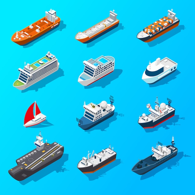 Ships boats vessels isometric icon set Free Vector