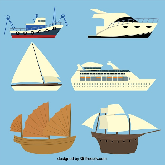 Ships collection Free Vector