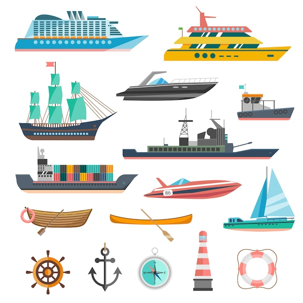 Ships icons set Free Vector