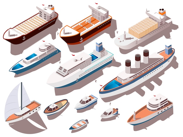 Ships isometric set Free Vector