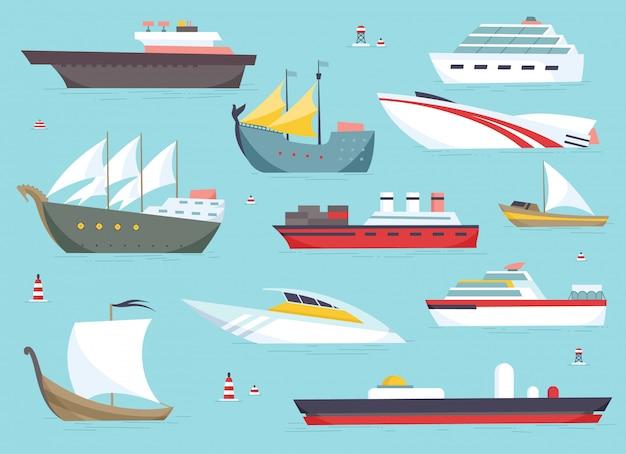 Ships at sea, shipping boats, ocean transport Premium Vector