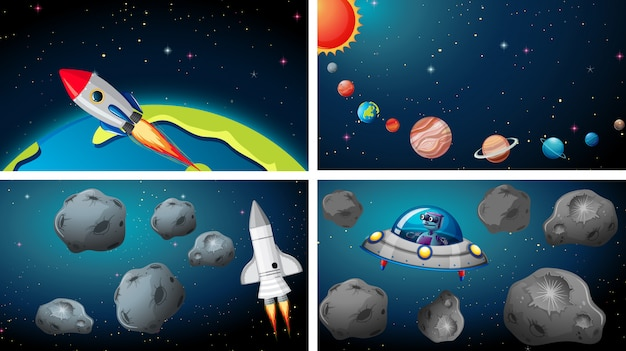 Ships in space scene Free Vector