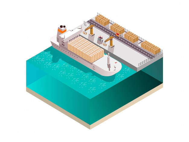 Shipyard composition with isometric image of marine cargo terminal crane towers loading containers onto cargo ship vector illustration Free Vector