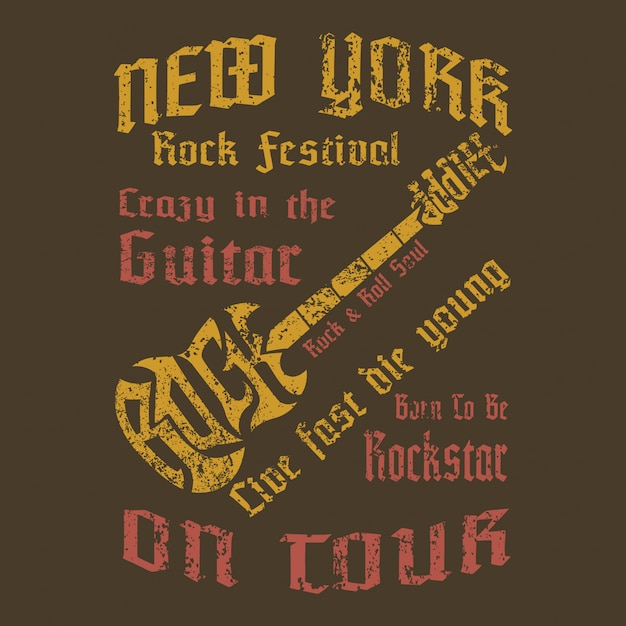 Shirt concept design of create text to be guitar shape Premium Vector