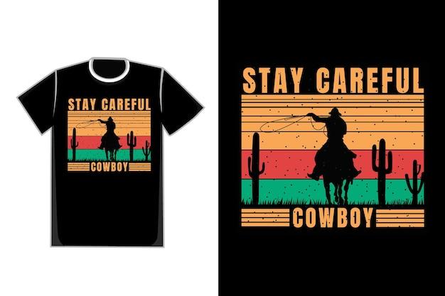 -shirt silhouette cowboy cactus retro vintage Premium Vector