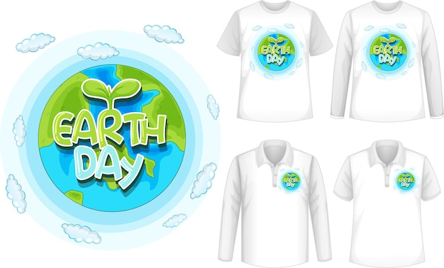 Shirt with earth day icon Free Vector
