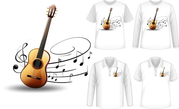 Camicia con illustrazione di strumenti musicali per chitarra Vettore gratuito