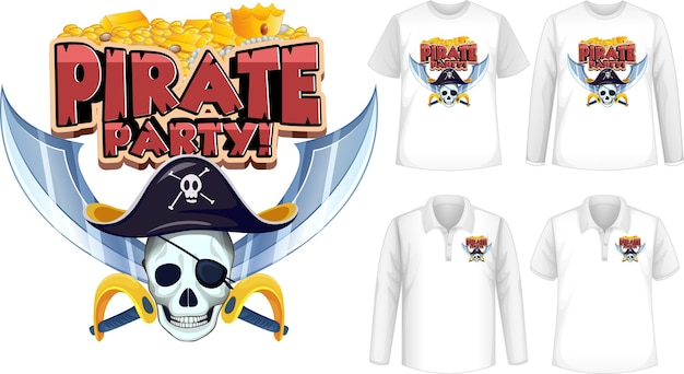 Shirt with pirate party icon Free Vector