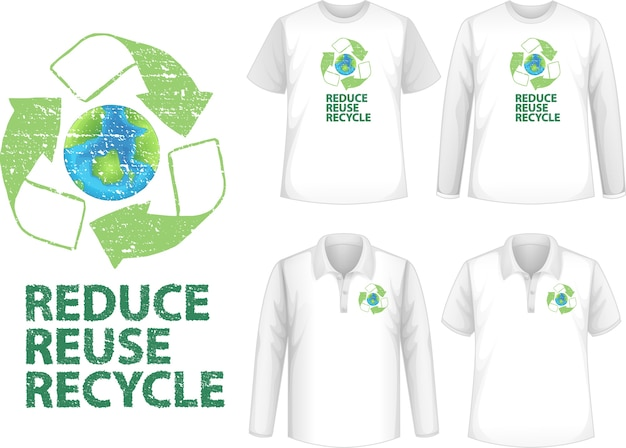 Shirt with recycle icon Free Vector