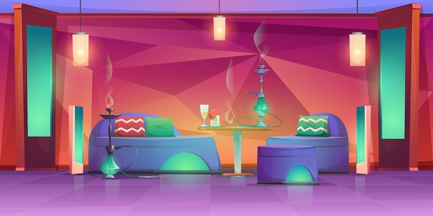 Shisha hookah bar interior, empty cafe for smoking Free Vector
