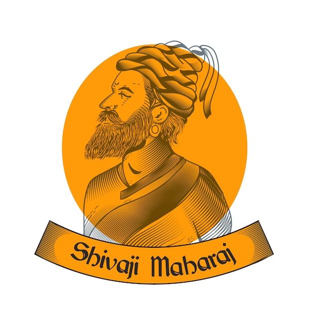 Shivaji maharaj design disegnato a mano Vettore gratuito