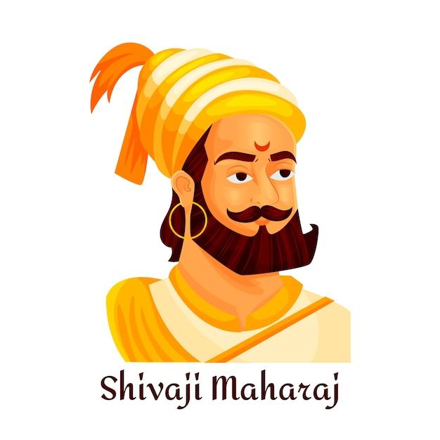Shivaji maharaj illustrato Vettore gratuito