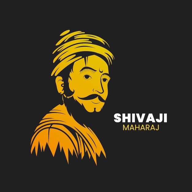 Illustrazione di shivaji maharaj con figura Vettore gratuito